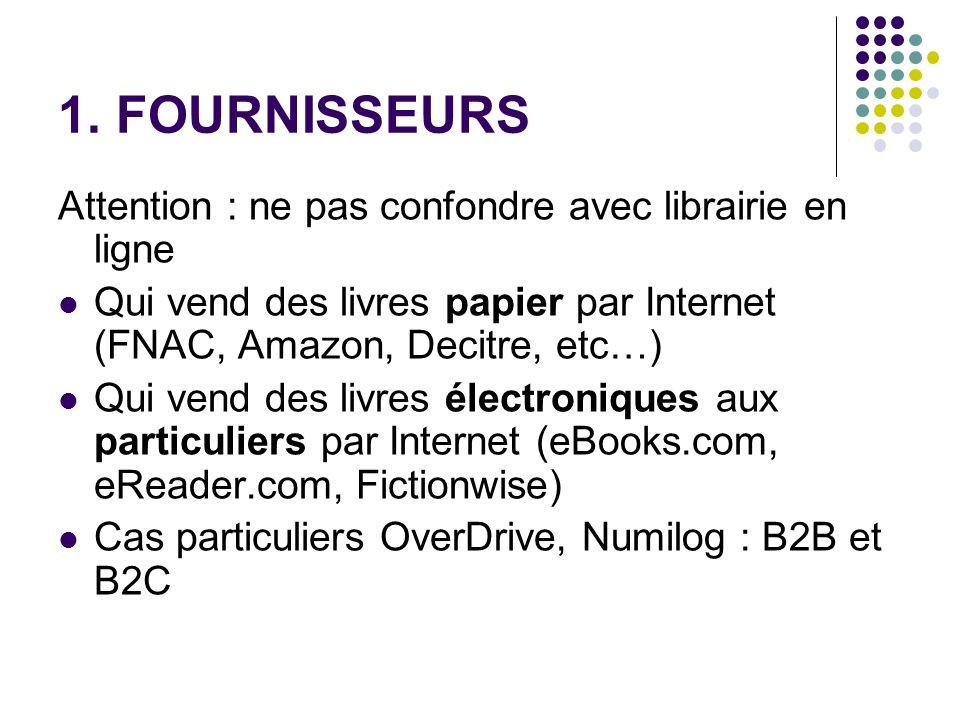 1. FOURNISSEURS Attention : ne pas confondre avec librairie en ligne Qui vend des livres papier par Internet (FNAC, Amazon, Decitre, etc…) Qui vend de