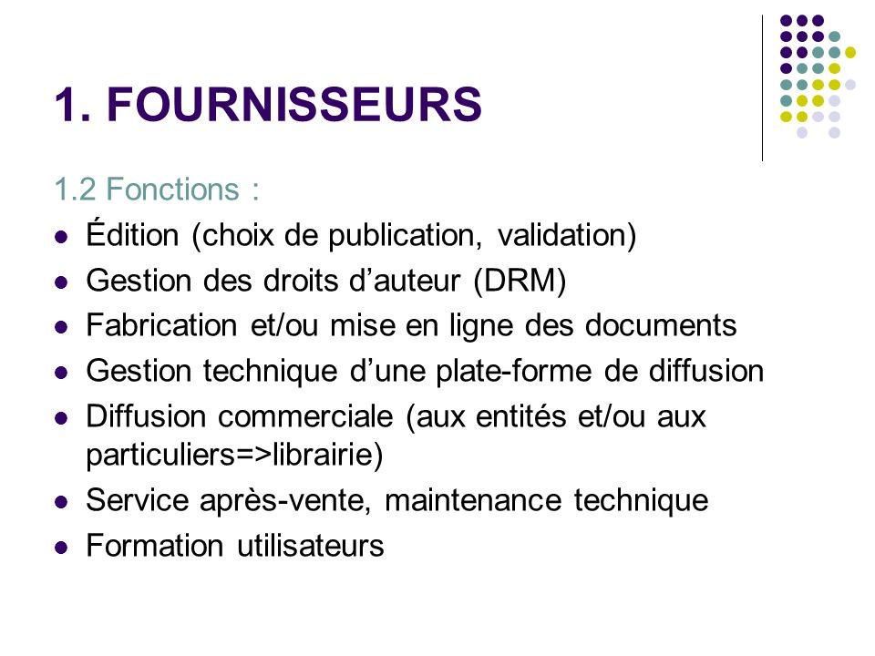 1. FOURNISSEURS 1.2 Fonctions : Édition (choix de publication, validation) Gestion des droits dauteur (DRM) Fabrication et/ou mise en ligne des docume