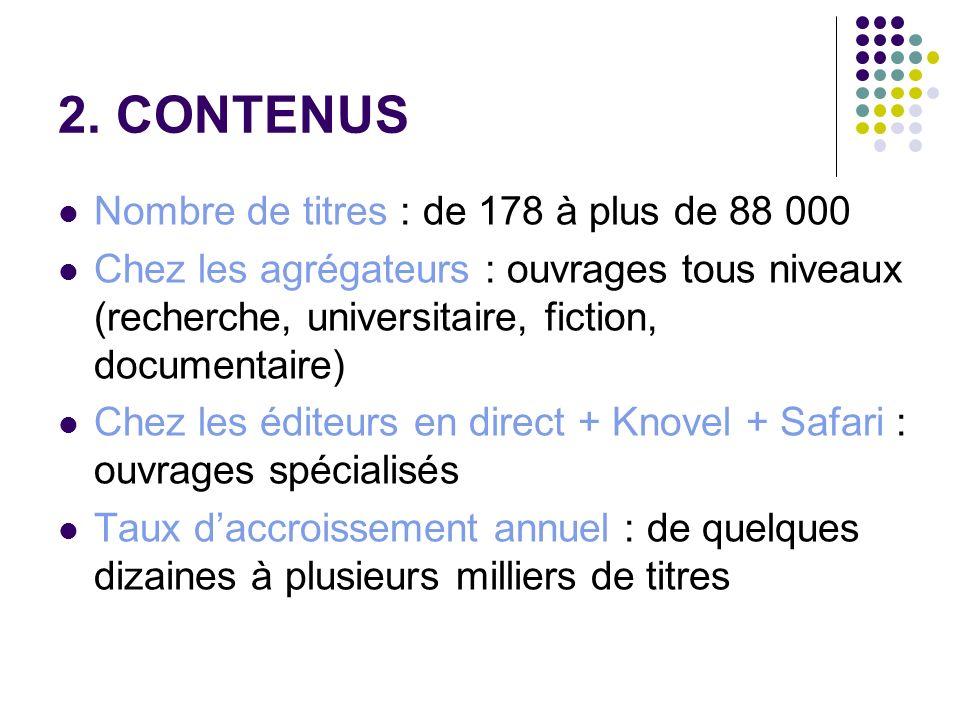 2. CONTENUS Nombre de titres : de 178 à plus de 88 000 Chez les agrégateurs : ouvrages tous niveaux (recherche, universitaire, fiction, documentaire)