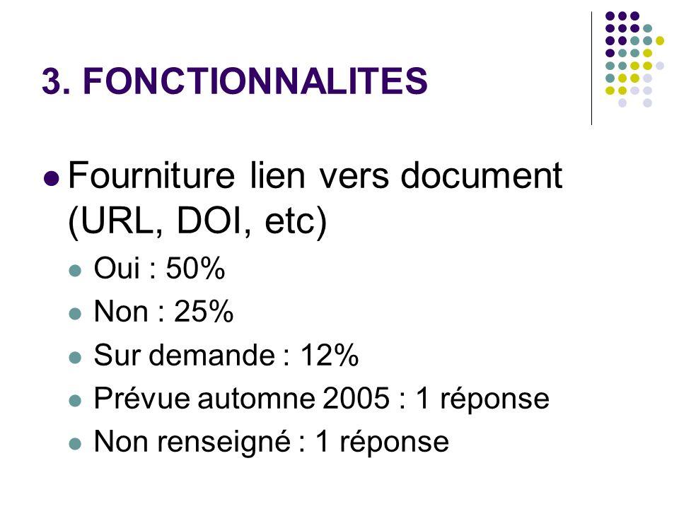 3. FONCTIONNALITES Fourniture lien vers document (URL, DOI, etc) Oui : 50% Non : 25% Sur demande : 12% Prévue automne 2005 : 1 réponse Non renseigné :