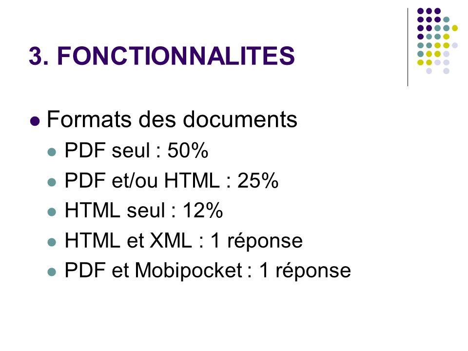 3. FONCTIONNALITES Formats des documents PDF seul : 50% PDF et/ou HTML : 25% HTML seul : 12% HTML et XML : 1 réponse PDF et Mobipocket : 1 réponse