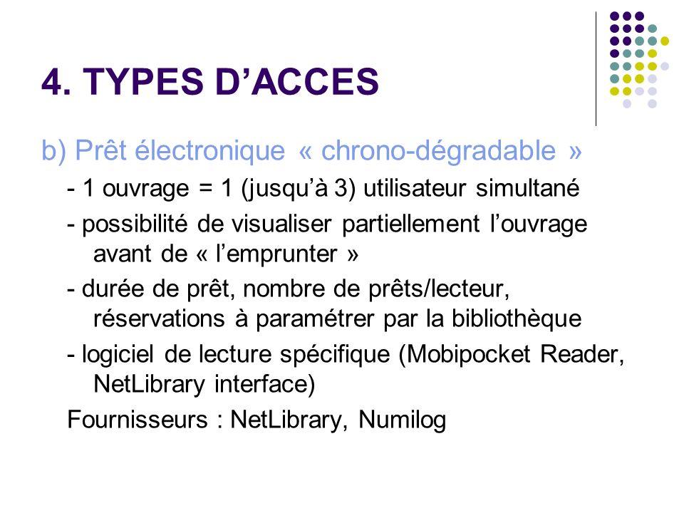 4. TYPES DACCES b) Prêt électronique « chrono-dégradable » - 1 ouvrage = 1 (jusquà 3) utilisateur simultané - possibilité de visualiser partiellement