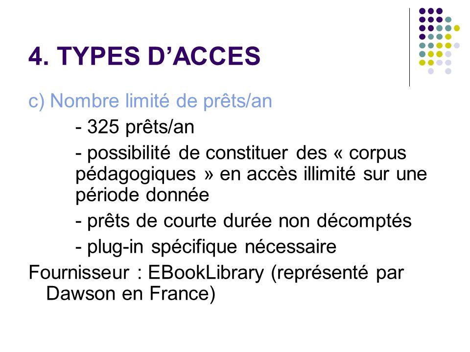 4. TYPES DACCES c) Nombre limité de prêts/an - 325 prêts/an - possibilité de constituer des « corpus pédagogiques » en accès illimité sur une période