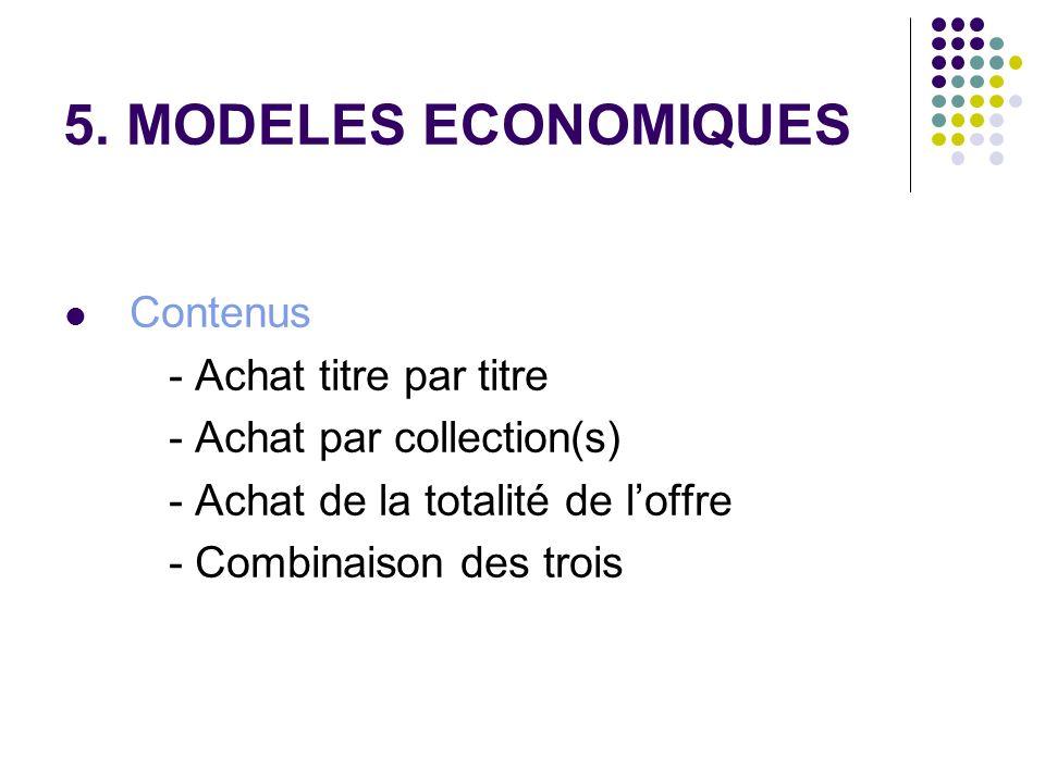 5. MODELES ECONOMIQUES Contenus - Achat titre par titre - Achat par collection(s) - Achat de la totalité de loffre - Combinaison des trois