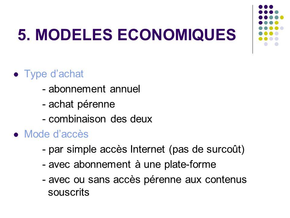 5. MODELES ECONOMIQUES Type dachat - abonnement annuel - achat pérenne - combinaison des deux Mode daccès - par simple accès Internet (pas de surcoût)