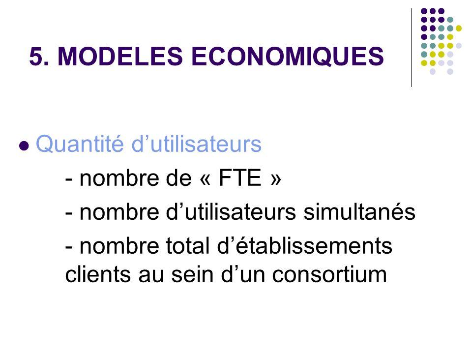5. MODELES ECONOMIQUES Quantité dutilisateurs - nombre de « FTE » - nombre dutilisateurs simultanés - nombre total détablissements clients au sein dun