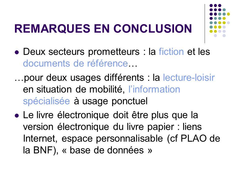 REMARQUES EN CONCLUSION Deux secteurs prometteurs : la fiction et les documents de référence… …pour deux usages différents : la lecture-loisir en situ