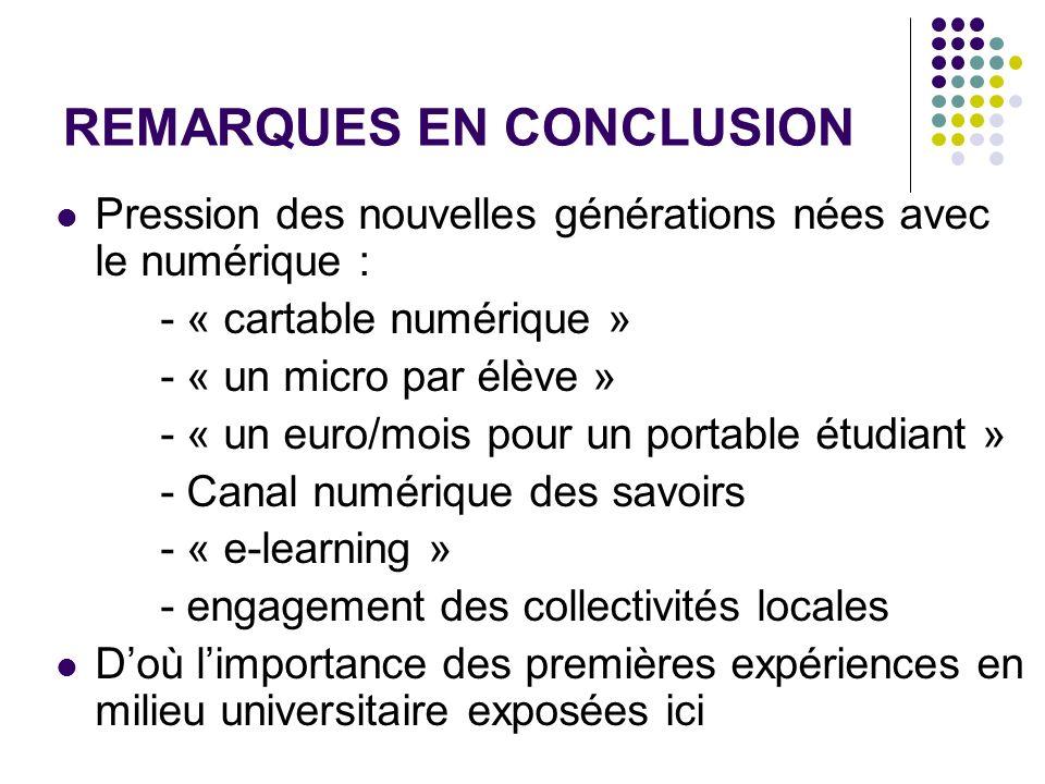 REMARQUES EN CONCLUSION Pression des nouvelles générations nées avec le numérique : - « cartable numérique » - « un micro par élève » - « un euro/mois