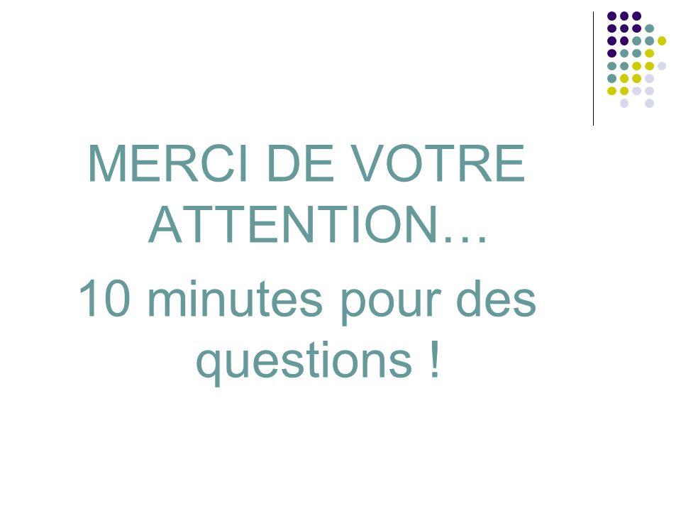 MERCI DE VOTRE ATTENTION… 10 minutes pour des questions !