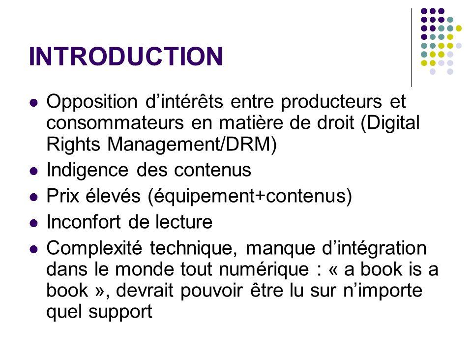 INTRODUCTION Opposition dintérêts entre producteurs et consommateurs en matière de droit (Digital Rights Management/DRM) Indigence des contenus Prix é