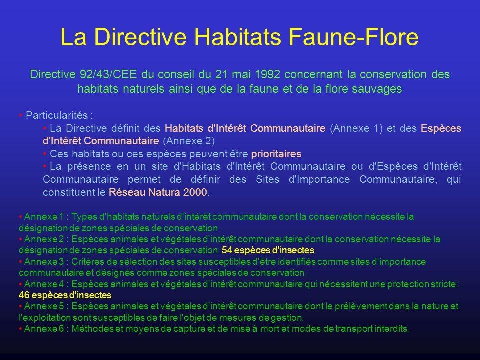 La Directive Habitats Faune-Flore Directive 92/43/CEE du conseil du 21 mai 1992 concernant la conservation des habitats naturels ainsi que de la faune