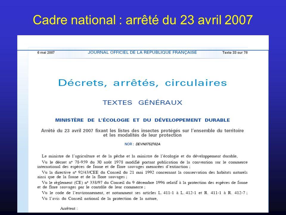 Cadre national : arrêté du 23 avril 2007