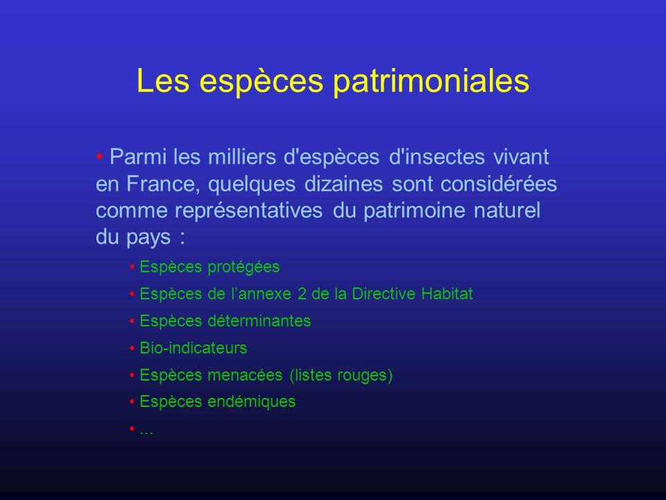 Les espèces patrimoniales Parmi les milliers d'espèces d'insectes vivant en France, quelques dizaines sont considérées comme représentatives du patrim