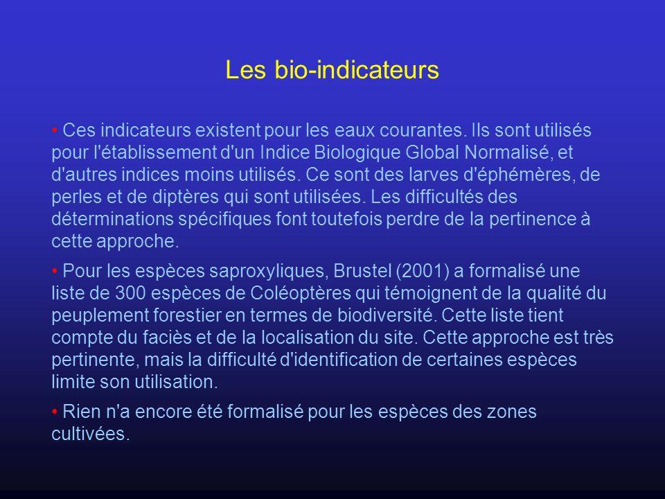 Les bio-indicateurs Ces indicateurs existent pour les eaux courantes. Ils sont utilisés pour l'établissement d'un Indice Biologique Global Normalisé,