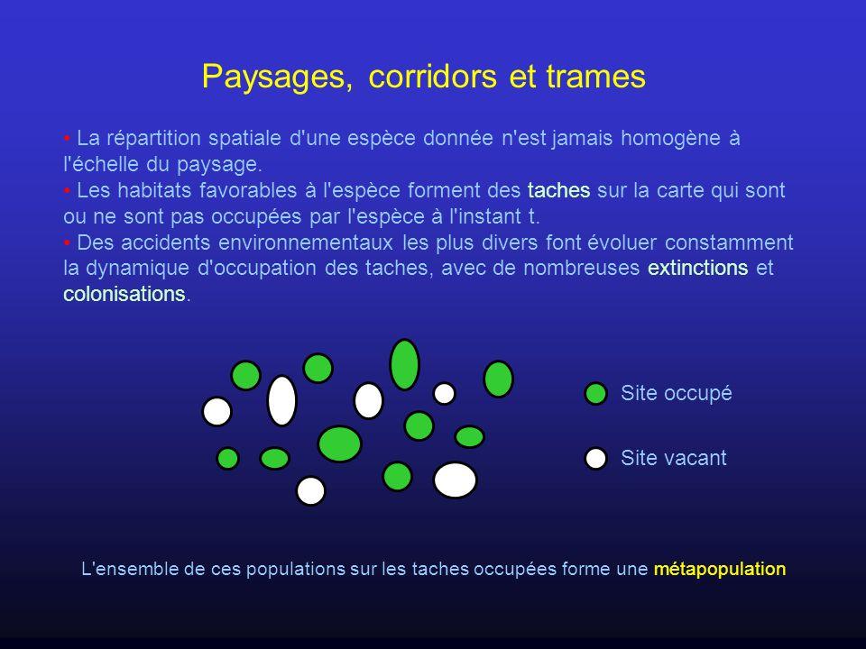 Paysages, corridors et trames La répartition spatiale d'une espèce donnée n'est jamais homogène à l'échelle du paysage. Les habitats favorables à l'es