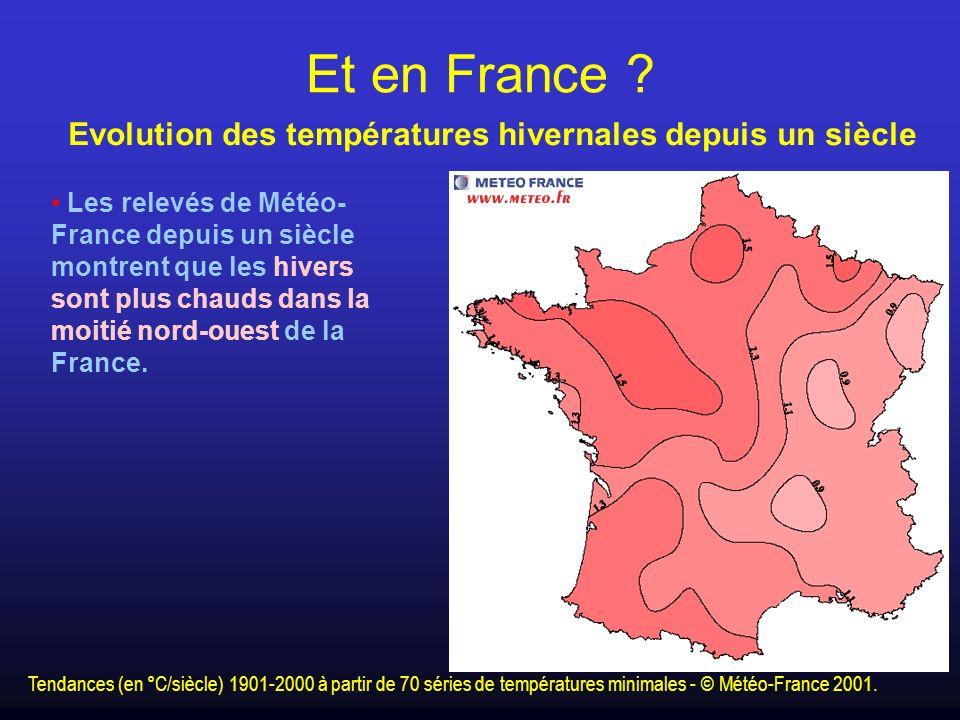 Les relevés de Météo- France depuis un siècle montrent que les hivers sont plus chauds dans la moitié nord-ouest de la France. Tendances (en °C/siècle