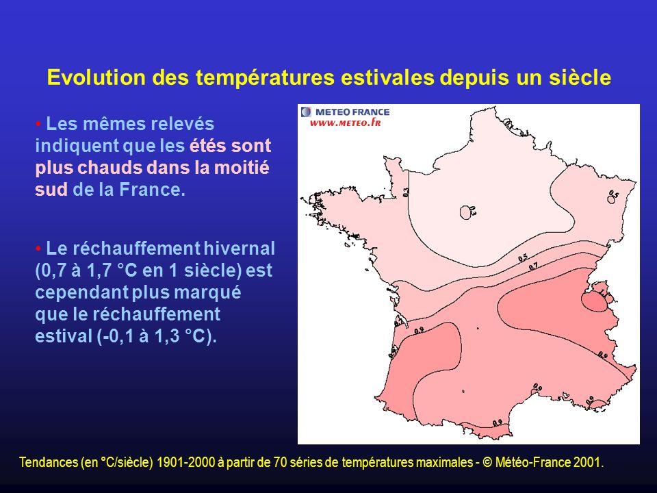 Evolution des températures estivales depuis un siècle Les mêmes relevés indiquent que les étés sont plus chauds dans la moitié sud de la France. Le ré