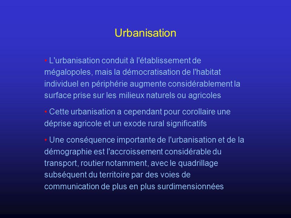 Urbanisation L'urbanisation conduit à l'établissement de mégalopoles, mais la démocratisation de l'habitat individuel en périphérie augmente considéra