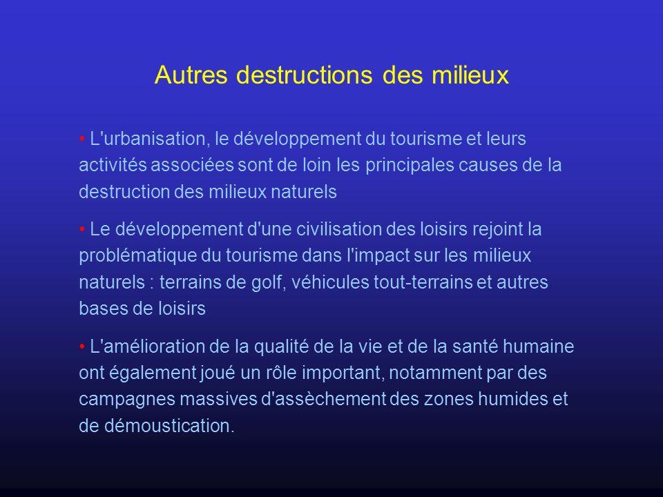Autres destructions des milieux L'urbanisation, le développement du tourisme et leurs activités associées sont de loin les principales causes de la de
