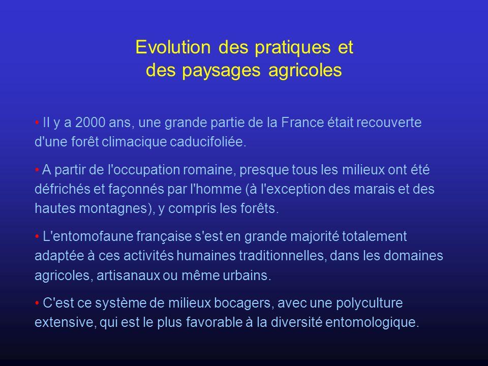 Evolution des pratiques et des paysages agricoles Il y a 2000 ans, une grande partie de la France était recouverte d'une forêt climacique caducifoliée