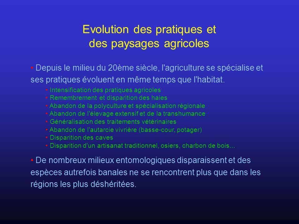 Evolution des pratiques et des paysages agricoles Depuis le milieu du 20ème siècle, l'agriculture se spécialise et ses pratiques évoluent en même temp