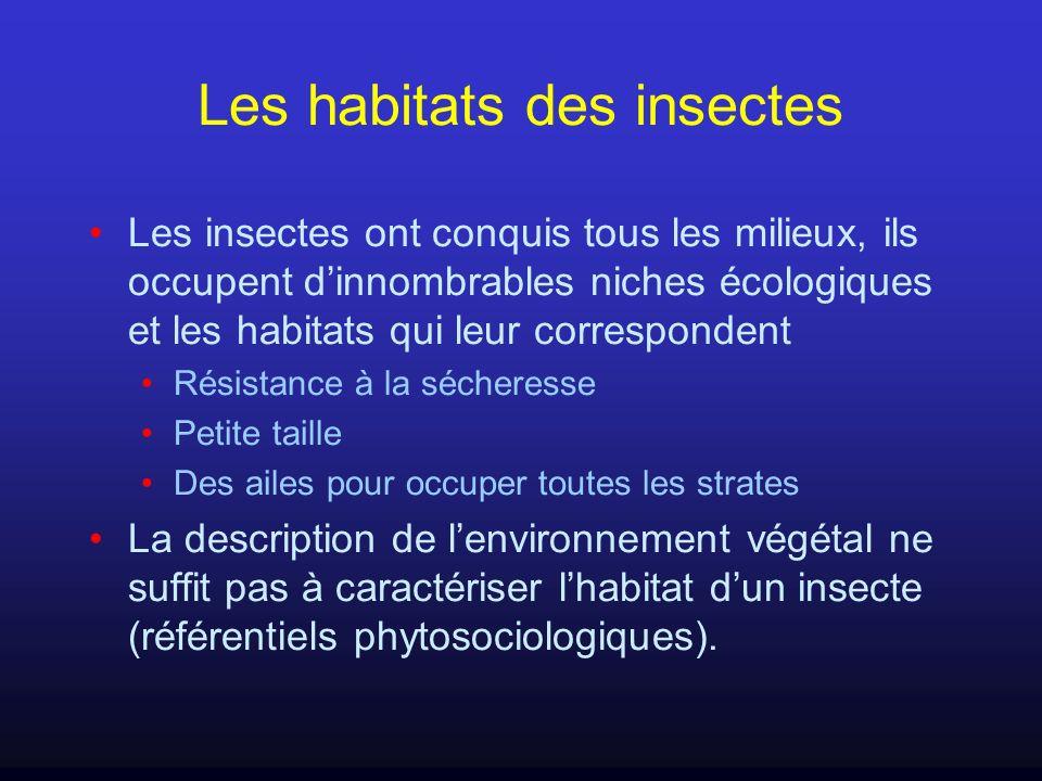 Les habitats des insectes Les insectes ont conquis tous les milieux, ils occupent dinnombrables niches écologiques et les habitats qui leur correspond