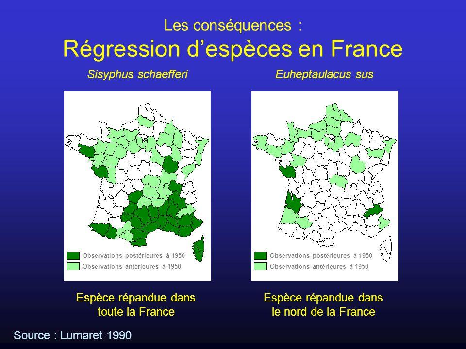 Source : Lumaret 1990 Les conséquences : Régression despèces en France Observations postérieures à 1950 Observations antérieures à 1950 Observations p