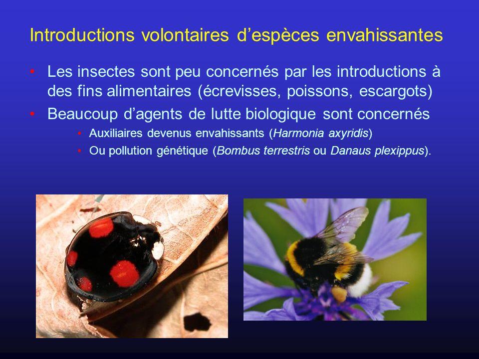 Introductions volontaires despèces envahissantes Les insectes sont peu concernés par les introductions à des fins alimentaires (écrevisses, poissons,