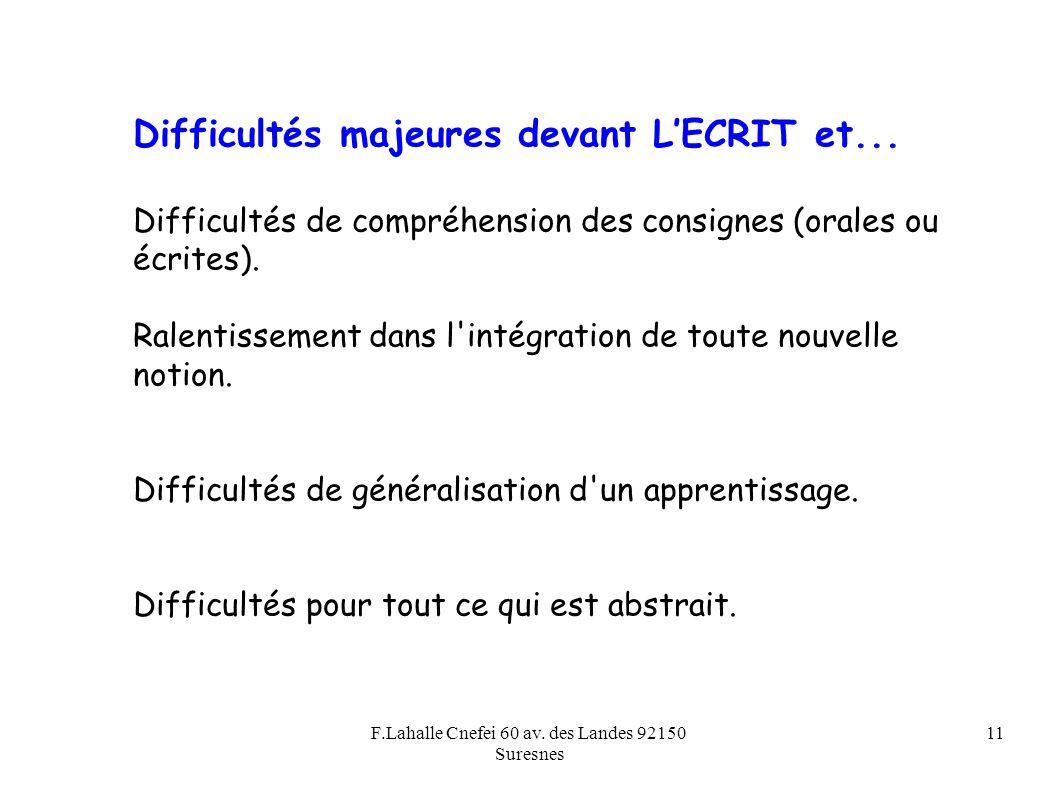 F.Lahalle Cnefei 60 av. des Landes 92150 Suresnes 11 Difficultés majeures devant LECRIT et... Difficultés de compréhension des consignes (orales ou éc