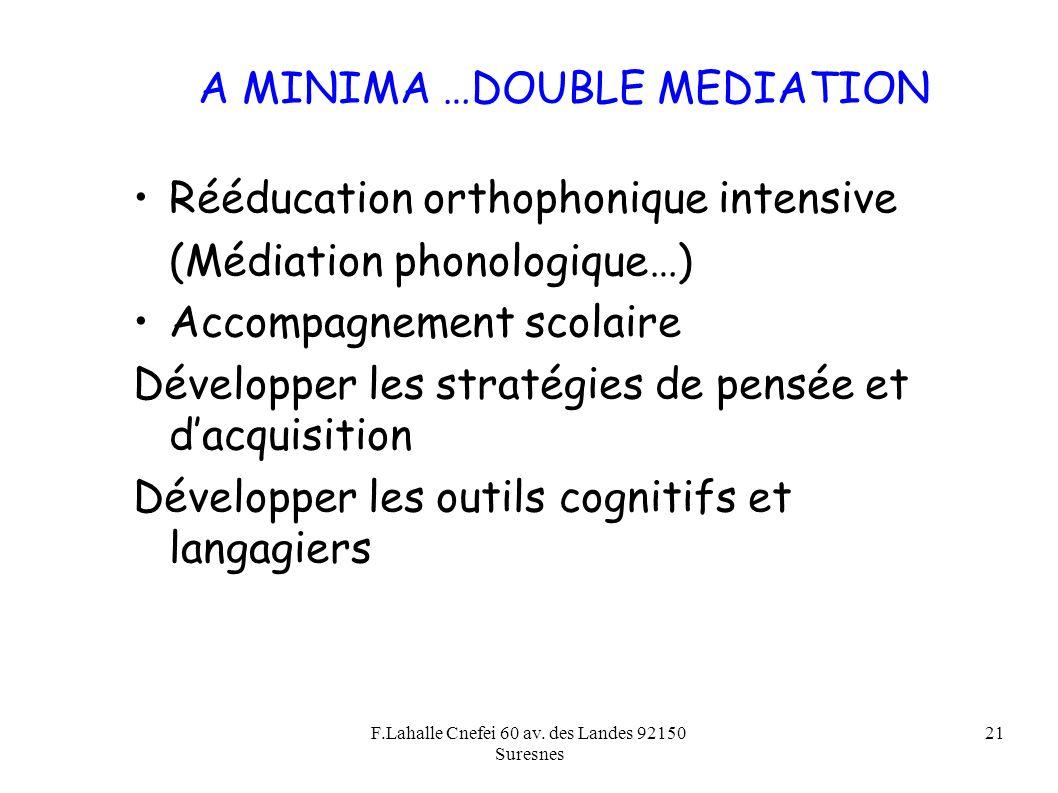 F.Lahalle Cnefei 60 av. des Landes 92150 Suresnes 21 A MINIMA …DOUBLE MEDIATION Rééducation orthophonique intensive (Médiation phonologique…) Accompag