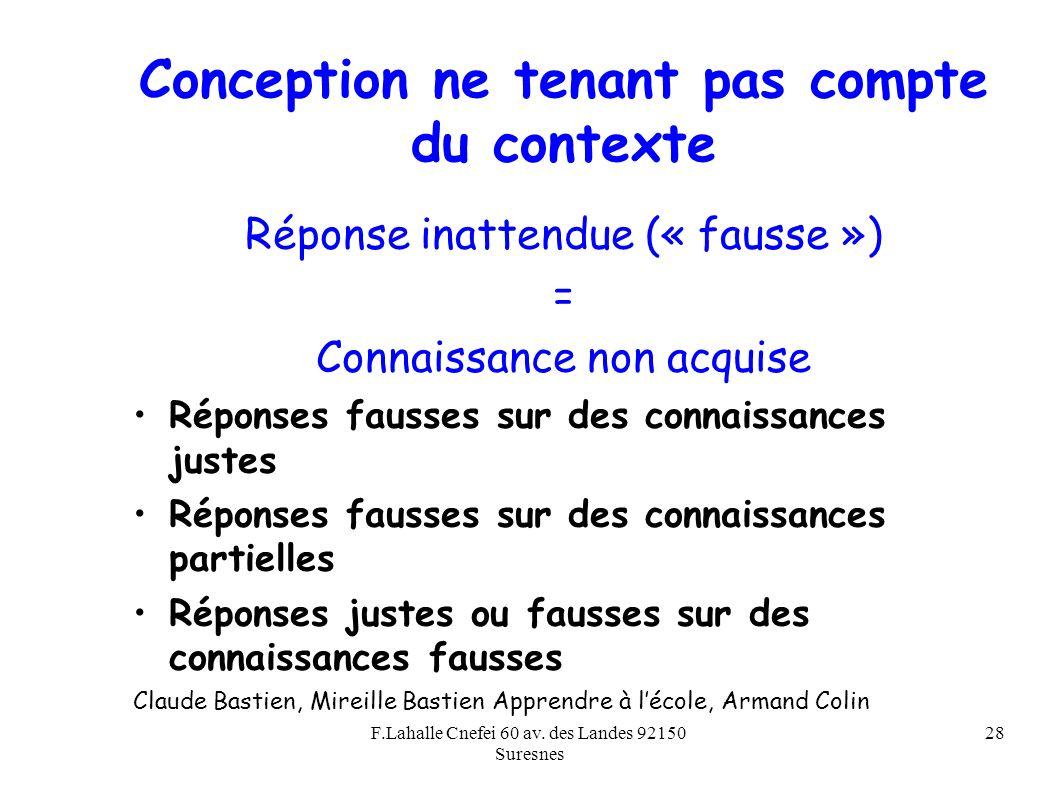 F.Lahalle Cnefei 60 av. des Landes 92150 Suresnes 28 Conception ne tenant pas compte du contexte Réponse inattendue (« fausse ») = Connaissance non ac