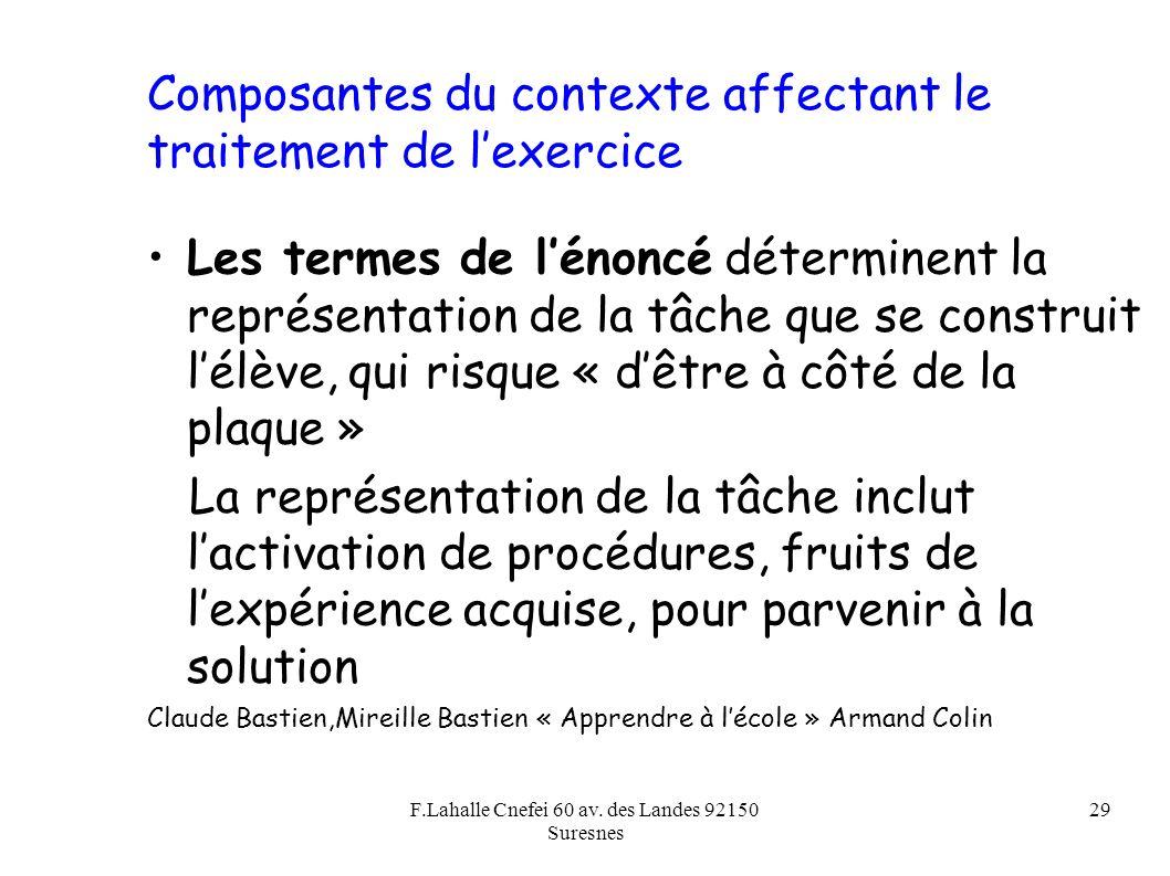 F.Lahalle Cnefei 60 av. des Landes 92150 Suresnes 29 Composantes du contexte affectant le traitement de lexercice Les termes de lénoncé déterminent la
