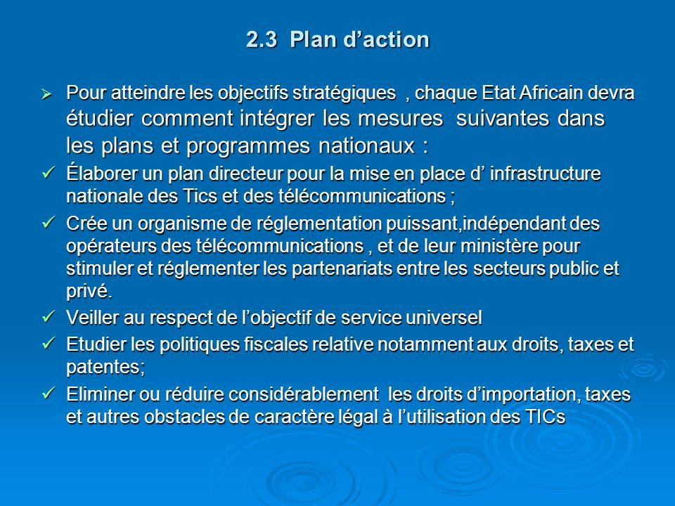 2.3 Plan daction Pour atteindre les objectifs stratégiques, chaque Etat Africain devra étudier comment intégrer les mesures suivantes dans les plans e