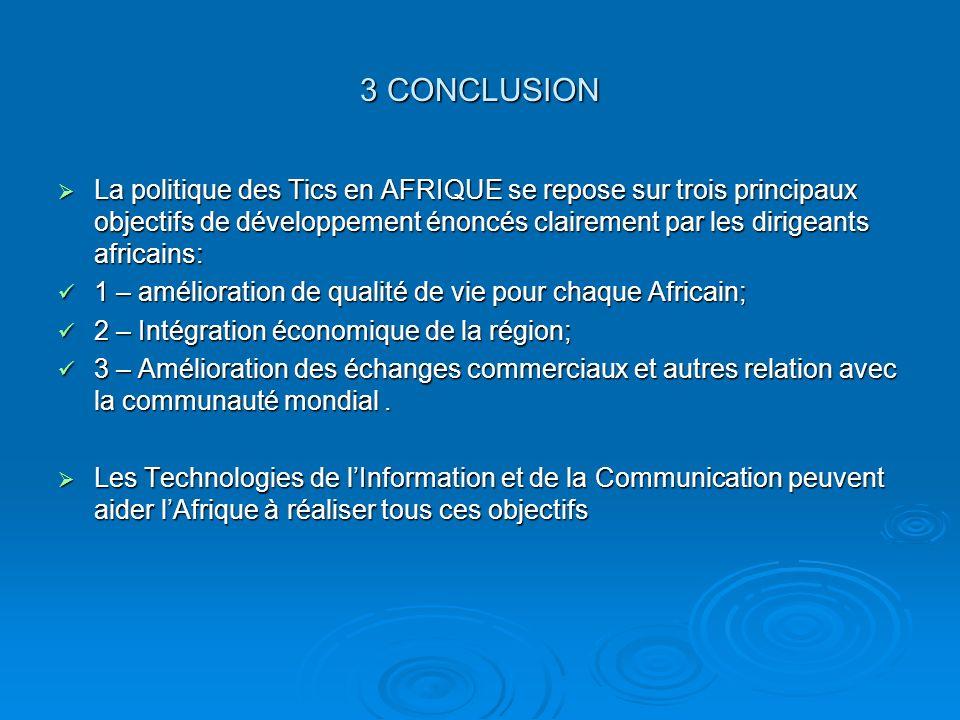 3 CONCLUSION La politique des Tics en AFRIQUE se repose sur trois principaux objectifs de développement énoncés clairement par les dirigeants africain