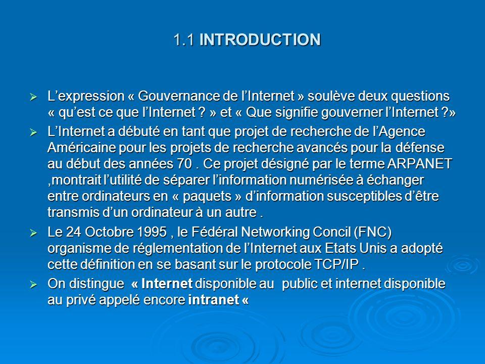 1.1 INTRODUCTION Lexpression « Gouvernance de lInternet » soulève deux questions « quest ce que lInternet ? » et « Que signifie gouverner lInternet ?»