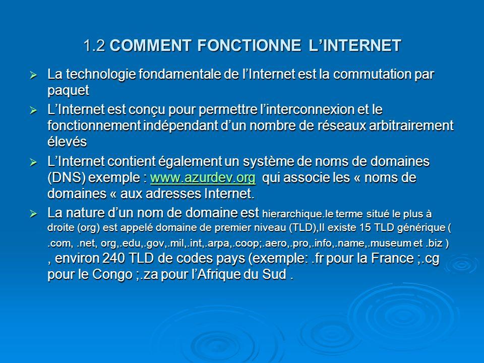 1.2 COMMENT FONCTIONNE LINTERNET La technologie fondamentale de lInternet est la commutation par paquet La technologie fondamentale de lInternet est l