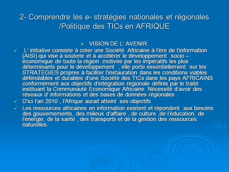 2- Comprendre les e- stratégies nationales et régionales /Politique des TICs en AFRIQUE VISION DE L AVENIR: VISION DE L AVENIR: L initiative consiste