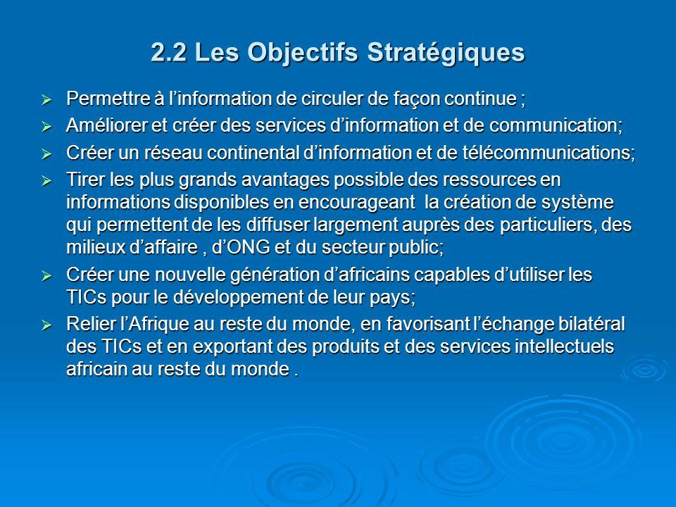2.2 Les Objectifs Stratégiques Permettre à linformation de circuler de façon continue ; Permettre à linformation de circuler de façon continue ; Améli