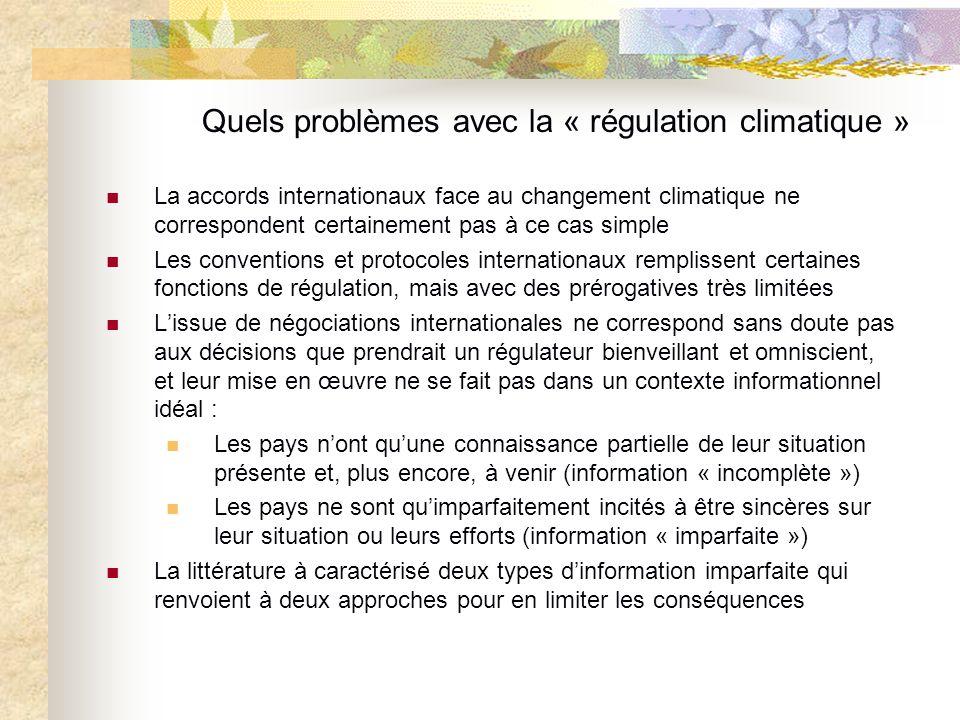 Quels problèmes avec la « régulation climatique » La accords internationaux face au changement climatique ne correspondent certainement pas à ce cas s