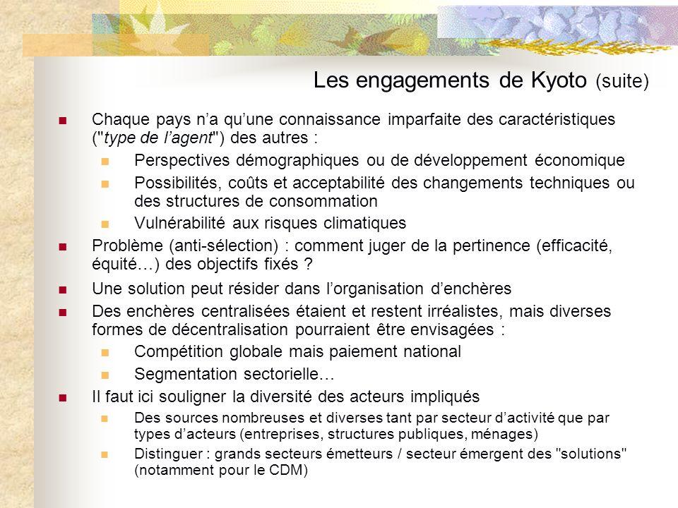 Les engagements de Kyoto (suite) Chaque pays na quune connaissance imparfaite des caractéristiques (