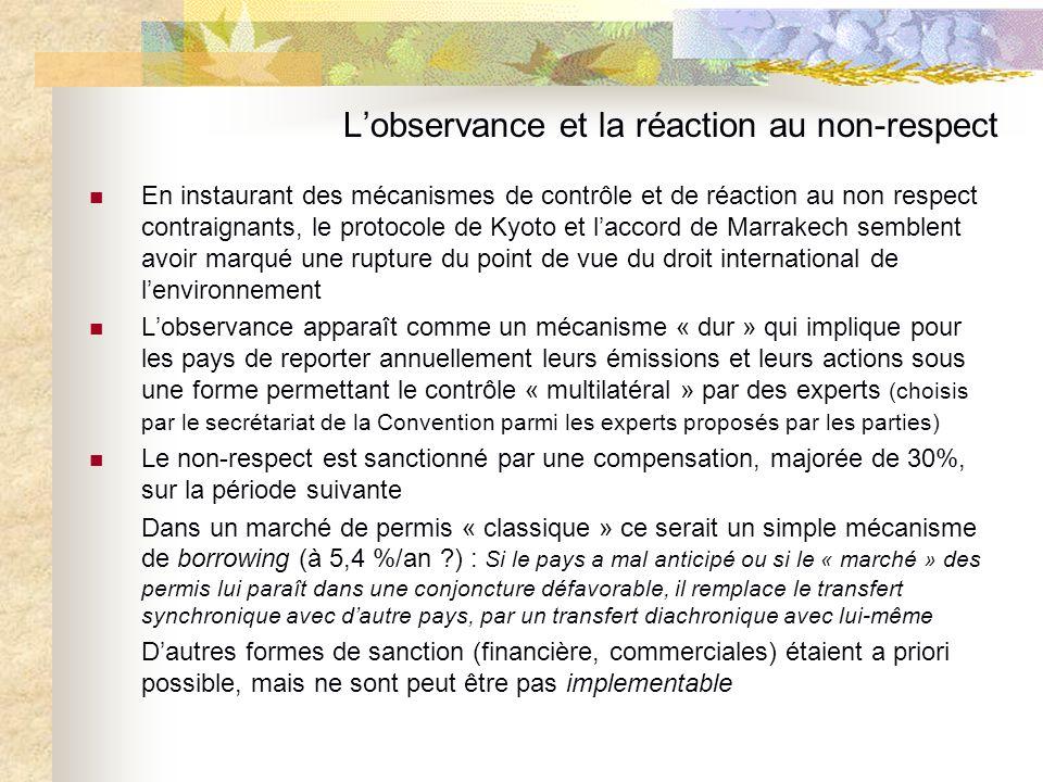 Lobservance et la réaction au non-respect En instaurant des mécanismes de contrôle et de réaction au non respect contraignants, le protocole de Kyoto