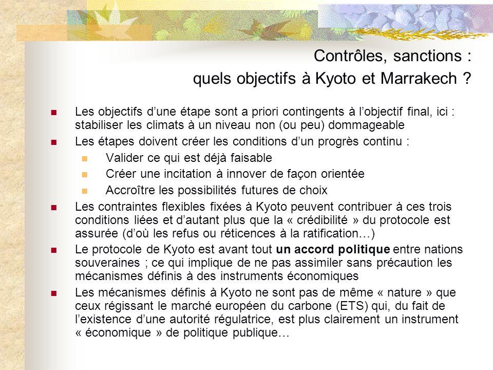 Contrôles, sanctions : quels objectifs à Kyoto et Marrakech ? Les objectifs dune étape sont a priori contingents à lobjectif final, ici : stabiliser l