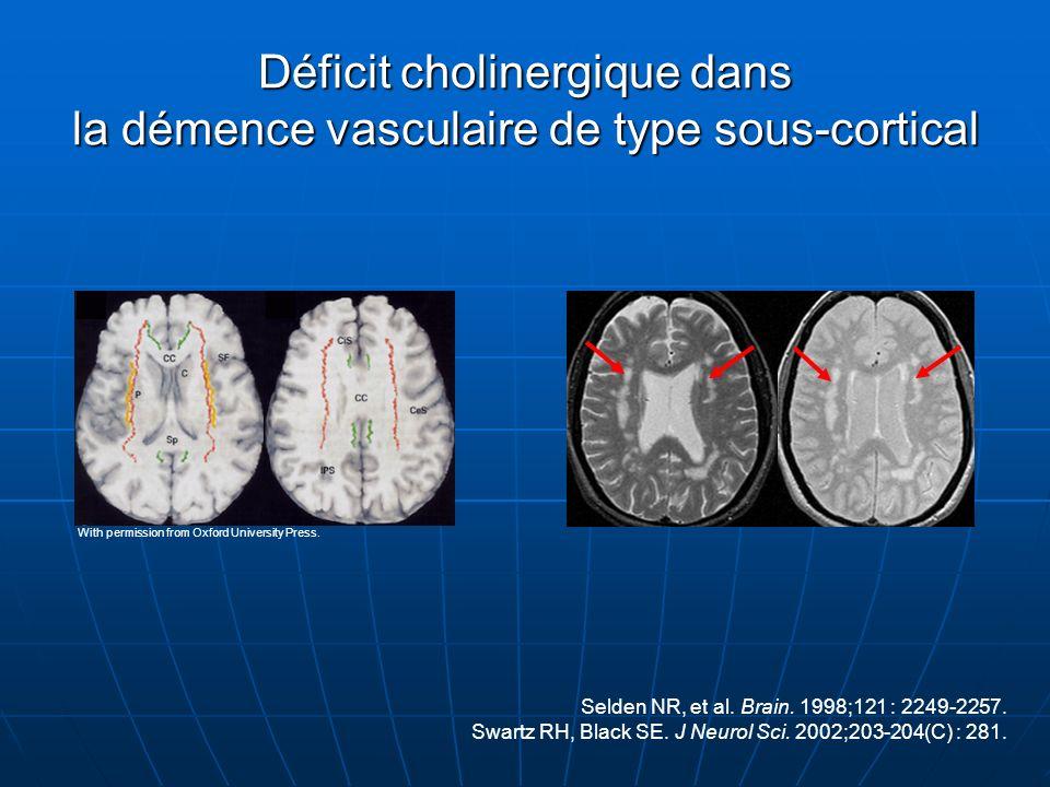 Déficit cholinergique dans la démence vasculaire de type sous-cortical Selden NR, et al. Brain. 1998;121 : 2249-2257. Swartz RH, Black SE. J Neurol Sc