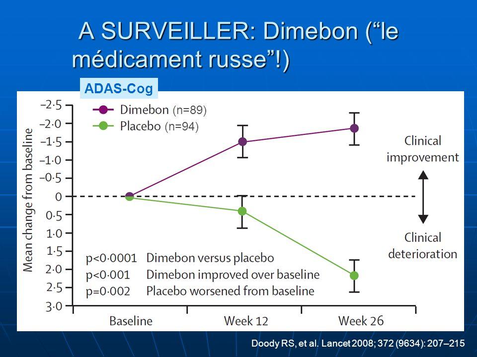 A SURVEILLER: Dimebon (le médicament russe!) (n=89) (n=94) ADAS-Cog Doody RS, et al. Lancet 2008; 372 (9634): 207–215