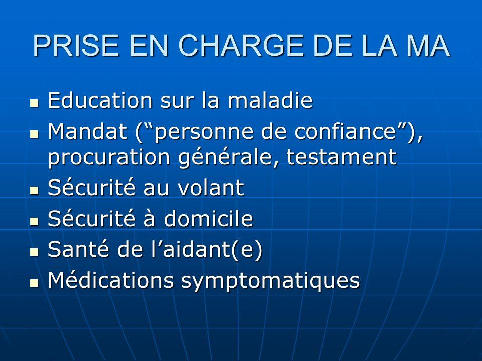 PRISE EN CHARGE DE LA MA Education sur la maladie Education sur la maladie Mandat (personne de confiance), procuration générale, testament Mandat (per