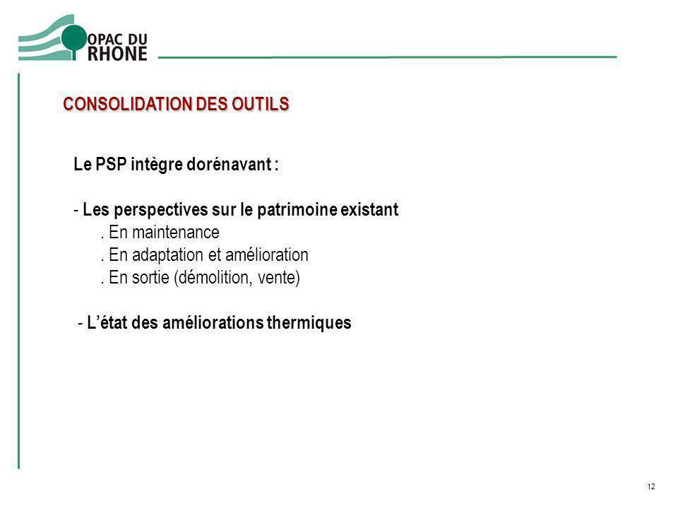 12 CONSOLIDATION DES OUTILS Le PSP intègre dorénavant : - Les perspectives sur le patrimoine existant. En maintenance. En adaptation et amélioration.