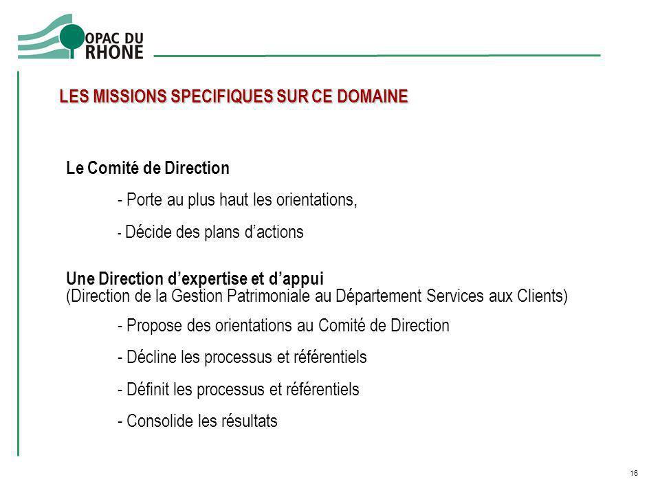 16 Le Comité de Direction - Porte au plus haut les orientations, - Décide des plans dactions Une Direction dexpertise et dappui (Direction de la Gesti