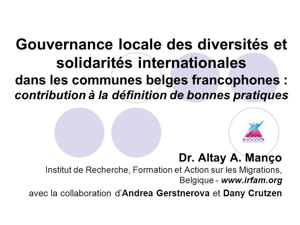 Gouvernance locale des diversités et solidarités internationales dans les communes belges francophones : contribution à la définition de bonnes pratiq