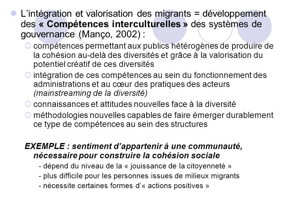 Lintégration et valorisation des migrants = développement des « Compétences interculturelles » des systèmes de gouvernance (Manço, 2002) : compétences