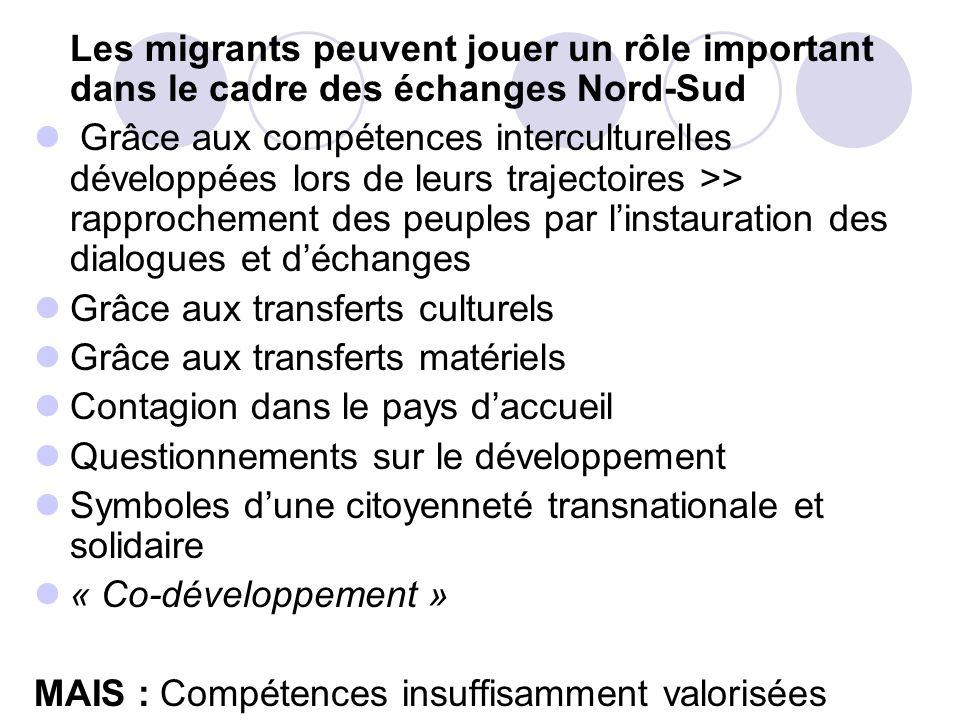 Les migrants peuvent jouer un rôle important dans le cadre des échanges Nord-Sud Grâce aux compétences interculturelles développées lors de leurs traj